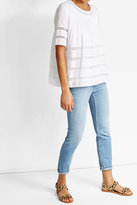 Steffen Schraut Pleated Crepe Blouse with Lace Panels