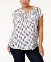INC International Concepts Plus Size Printed Utility Top, Only at Macy's