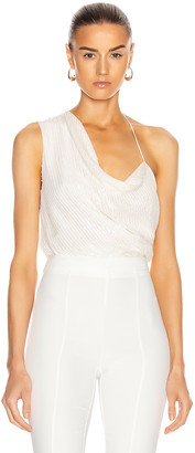 Cushnie Asymmetrical Draped Tank with Iridescent Paillette Embroidery in White | FWRD