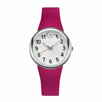 Philip Stein Teslar Analog Display Wrist Japanese Quartz Colors Small Smart Watch Pink Silicone Band Pin Buckle with White Dial Natural Frequency Technology Provides More Energy - Model F36S-SW-HP