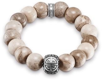 Thomas Sabo Women Men-Bracelet Rebel at heart 925 Sterling silver Jasper beige Length 16 cm A1577-353-16-L16