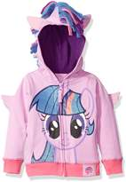My Little Pony Little Girls' Toddler Mlp Rarity Fleece W Fringe and 3d Wg