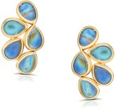 Tresor Collection Rainbow Moonstone Butterfly Stud Earrings In 18K Yellow Gold