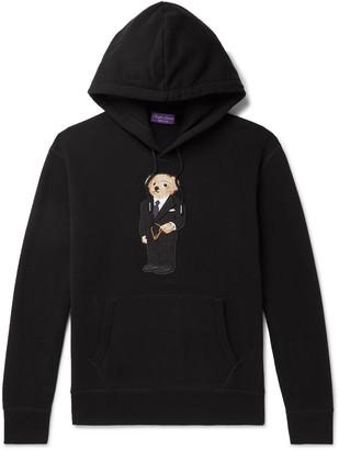 Ralph Lauren Purple Label Bear-Appliqued Fleece-Back Cotton-Blend Jersey Hoodie