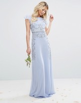 Maya Maxi Dress with Frill Sleeve and Placement Embellishment