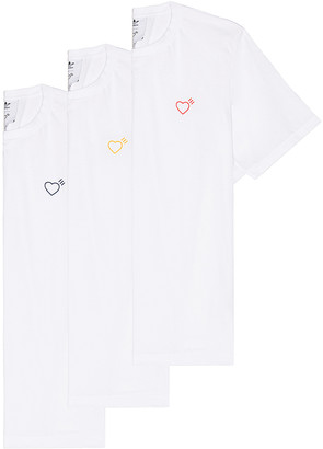 adidas x HUMAN MADE 3 Pack Tee in White | FWRD