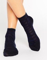 Falke Navy Blue Poplin Short Sock