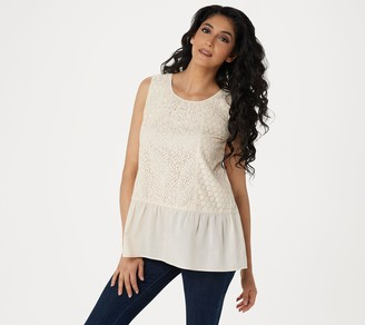 Logo by Lori Goldstein LOGO Lavish by Lori Goldstein Cotton Modal Tank with Lace Front