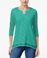 JM Collection Petite Perforated Keyhole Top, Only at Macy's