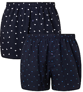 John Lewis Arctic Print Woven Cotton Boxers, Pack of 2, Navy