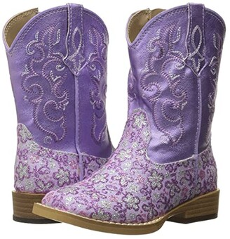 Roper Lavender (Toddler) (Purple Faux Leather Glitter Print) Cowboy Boots