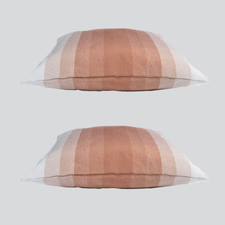 D&M Depot - 50x50 Striped Rust Snooze Cushion Set of 2 - cotton | 50 x 50 cm | rusty orange - Rusty orange