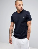Fred Perry V-Neck Small Logo T-Shirt In Navy