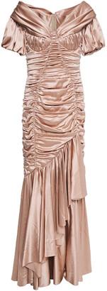 Dolce & Gabbana Ruched Stretch-silk Satin Gown