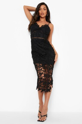 boohoo Lace Panelled Open Back Midi Dress