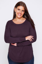 Yours Clothing Aubergine Purple Long Sleeve Jumper with Keyhole Back Detail