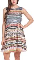 Meaneor Women Casual Sleeveless Round Neck Boho Print Short Dress Sundress S
