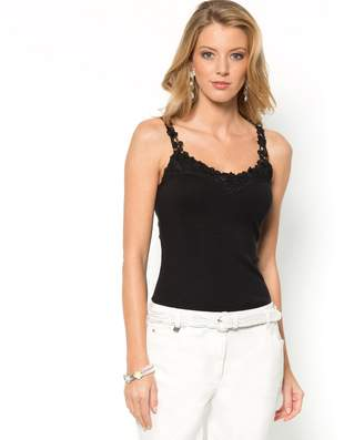 Anne Weyburn Plain Cotton V-Neck Top with Lace Straps