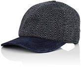 Luciano Barbera Men's Suede-Bill Herringbone-Knit Cashmere Baseball Cap-NAVY