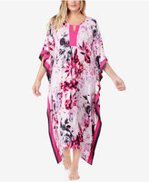 Ellen Tracy Plus Size Contrast-Trimmed Printed Knit Caftan
