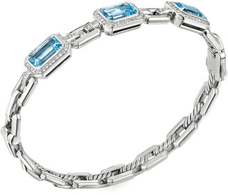 David Yurman Novella 3-Stone Bracelet with Blue Topaz and Diamonds, Size S