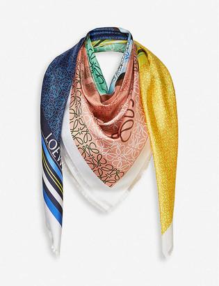 Loewe Patchwork print silk scarf
