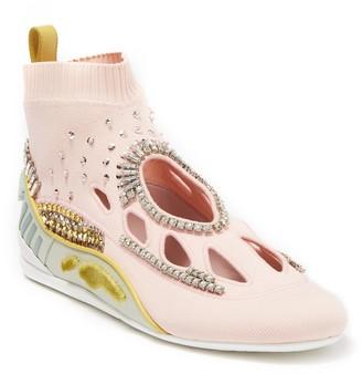 Valentino Jewel Embellished Knit Sneaker
