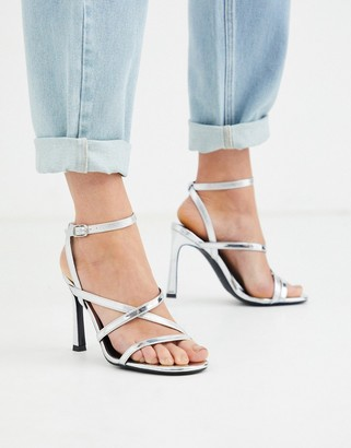 New Look multi strap heeled sandals in silver