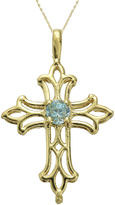 JCPenney FINE JEWELRY Genuine Blue Topaz 10K Yellow Gold Cross Pendant Necklace