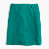 J.Crew Petite scalloped skirt in wool-cotton gabardine