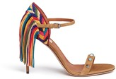 Valentino 'Rockstud Rolling' embroidered fringe suede sandals
