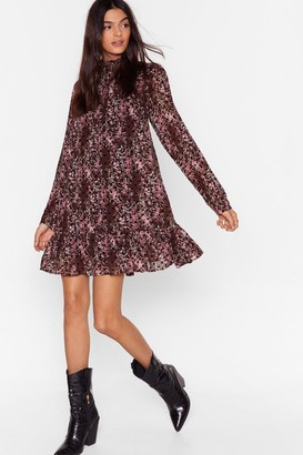 Nasty Gal Womens Smock Horror Floral Mini Dress - Brown - 4