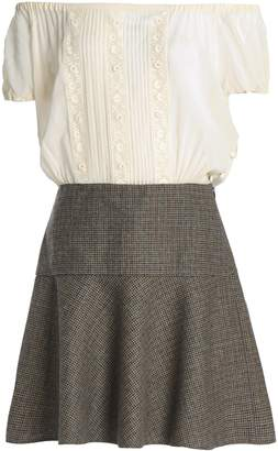 RED Valentino Off-the-shoulder Silk-blend Georgette And Houndstooth Wool Mini Dress