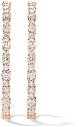 As 29 18k Yellow Gold Round Diamond Medium Hoop Earrings