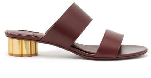 Salvatore Ferragamo Belluno Column Heel Leather Sandals - Womens - Burgundy
