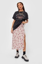 Thumbnail for your product : Nasty Gal Womens Floral Slit Side Midi Skirt - White - 6