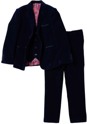 Isaac Mizrahi 3-Piece Solid Velvet Suit (Toddler, Little Boys, & Big Boys)