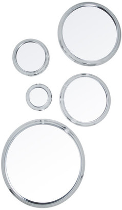 """Ctg Brands Inc. 5-Piece Decorative Silver Round Wall Mirror Set for Entryway, 14"""", Sil"""
