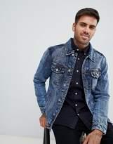 Pull&bear Denim Jacket In Black