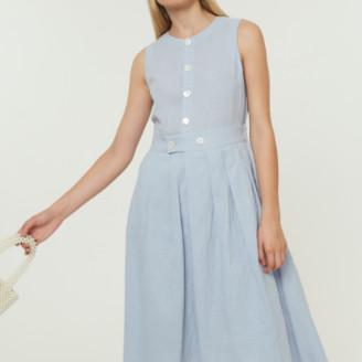 Jovonna London Blue Benny Dress Midi with Buttons - Large