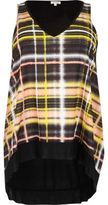 River Island Womens Plus yellow check V-neck tank top