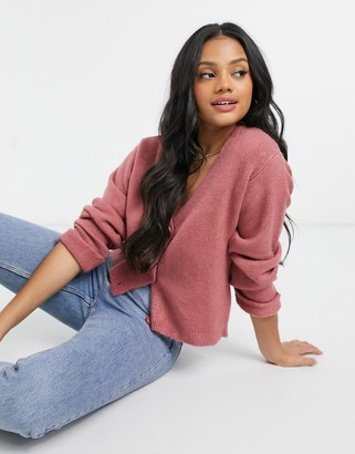 ASOS Design boxy cardigan with turn-back cuffs in dusky pink