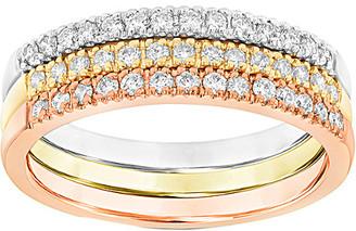 Suzy Levian Diamonds Suzy Levian Set Of 3 14K Tri-Tone 3 0.45 Ct. Tw. Diamond Rings