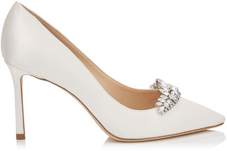Jimmy Choo ROMY 85 Ivory Satin Pointy Toe Pumps with Crystal Tiara