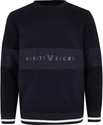 River Island Boys Navy 'Ninety eight' panel sweatshirt