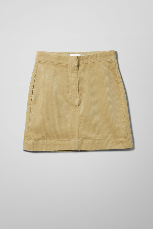 Thumbnail for your product : Weekday Brielle Cord Skirt - Beige