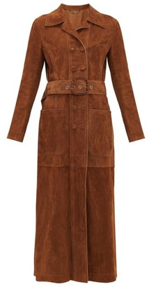 Fendi Double-breasted Belted Suede Coat - Womens - Dark Brown