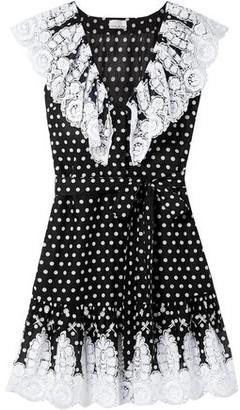 Miguelina Payton Lace-trimmed Polka-dot Cotton-voile Mini Dress
