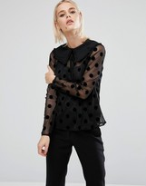 Fashion Union Sheer Spot Shirt With Tie Up Collar