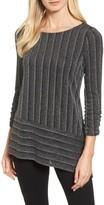 Chaus Women's Metallic Stripe Asymmetrical Top